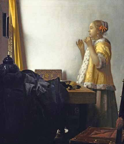 pinturas-de-retratos - Quadro -Young Woman with a Pearl Necklace, 1662- - Vermeer, Johannes