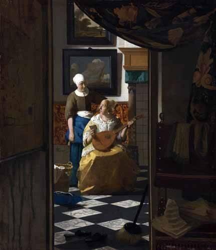 pinturas-de-retratos - Quadro -The Love Letter, 1669- - Vermeer, Johannes