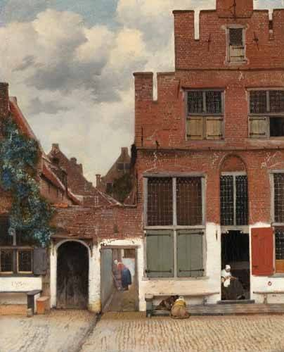 quadros-de-paisagens - Quadro -View of Houses in Delft, known as 'The little Street', 1658- - Vermeer, Johannes