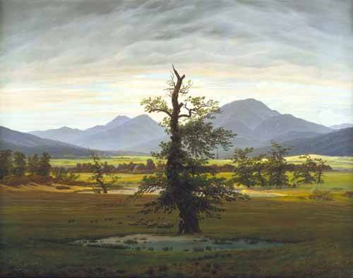 quadros-de-paisagens - Quadro -Solitary Tree (also known as Village Landscape in Morning Light - Friedrich, Caspar David