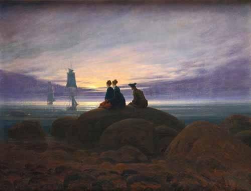 quadros-de-paisagens-marinhas - Quadro -Moonrise over the Sea, 1822- - Friedrich, Caspar David