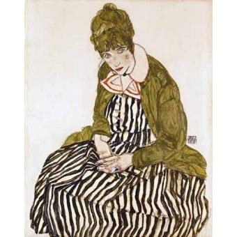 - Quadro -Edith Schiele in Striped Dress, Seated, 1915- - Schiele, Egon