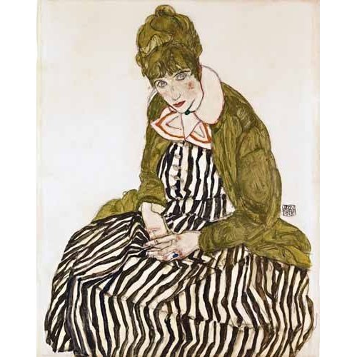 pinturas do retrato - Quadro -Edith Schiele in Striped Dress, Seated, 1915-