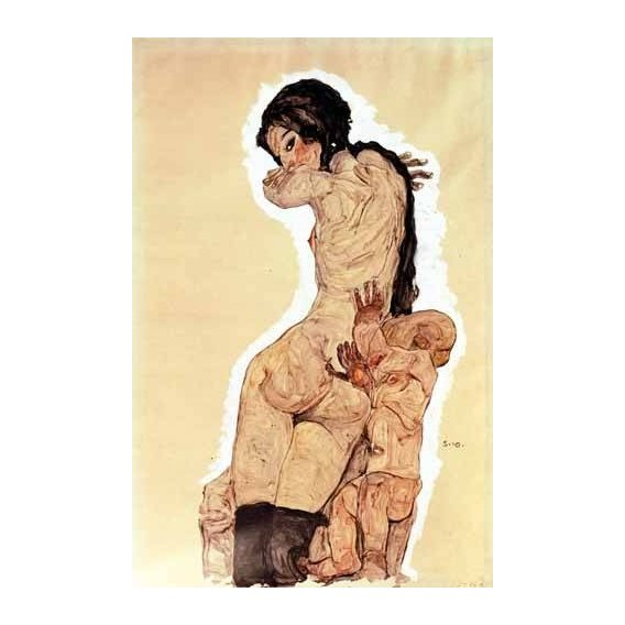 pinturas do retrato - Quadro -Mother and Child, 1910-