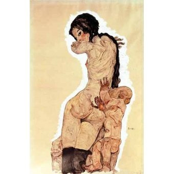 quadros nu artistico - Quadro -Mother and Child, 1910- - Schiele, Egon