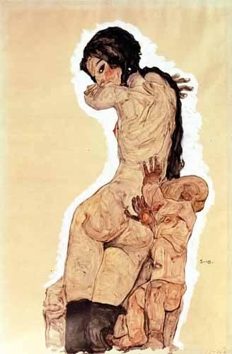 pinturas-de-retratos - Quadro -Mother and Child, 1910- - Schiele, Egon