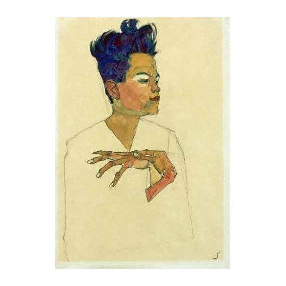 pinturas do retrato - Quadro -Self-Portrait with Hands on Chest, 1910-