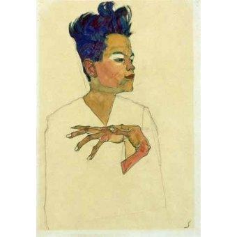 - Quadro -Self-Portrait with Hands on Chest, 1910- - Schiele, Egon