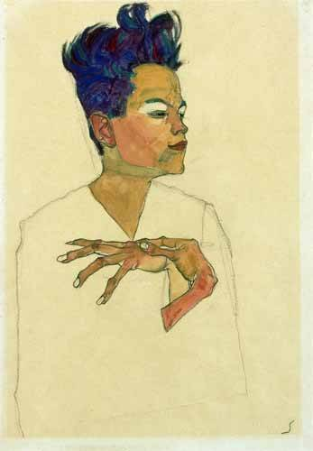 pinturas-de-retratos - Quadro -Self-Portrait with Hands on Chest, 1910- - Schiele, Egon