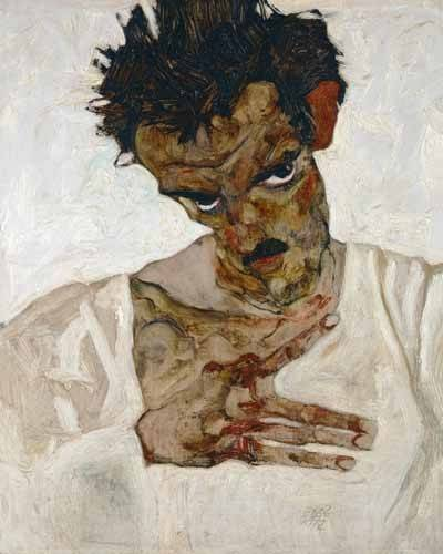 pinturas-de-retratos - Quadro -Self-portrait with Lowered Head, 1912- - Schiele, Egon