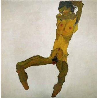 quadros nu artistico - Quadro -Self-portrait, nude- - Schiele, Egon