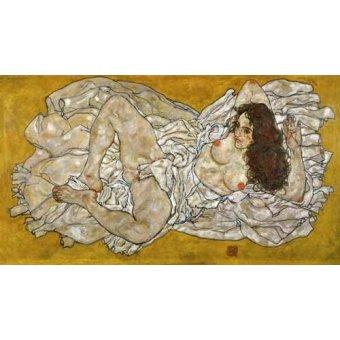 quadros nu artistico - Quadro -Liegende Frau- - Schiele, Egon