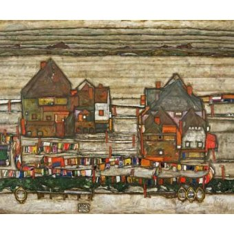 - Quadro -Houses and Colorful Laundry (Two Blocks of Houses with Clothes- - Schiele, Egon