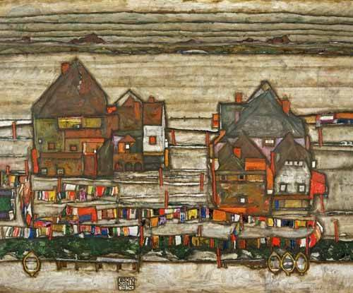 quadros-de-paisagens - Quadro -Houses and Colorful Laundry (Two Blocks of Houses with Clothes- - Schiele, Egon