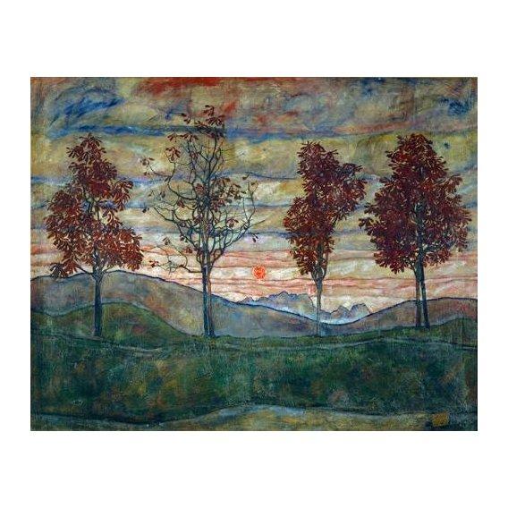 pinturas de paisagens - Quadro -Four Trees-