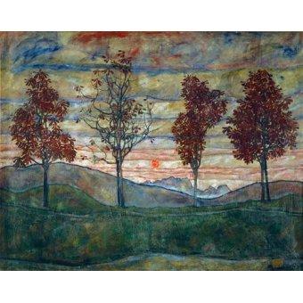 - Quadro -Four Trees- - Schiele, Egon