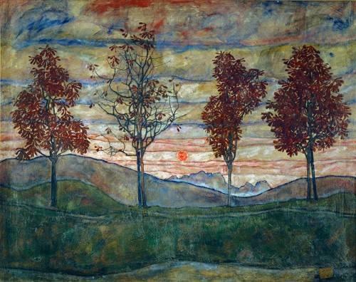quadros-de-paisagens - Quadro -Four Trees- - Schiele, Egon