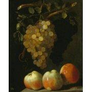 Picture -Bodegon con uvas y manzanas-