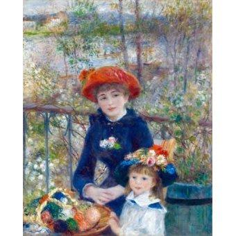 pinturas de retratos - Quadro -Dos Hermanas, 1881- - Renoir, Pierre Auguste