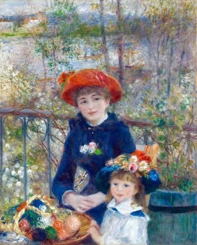 pinturas-de-retratos - Quadro -Dos Hermanas, 1881- - Renoir, Pierre Auguste