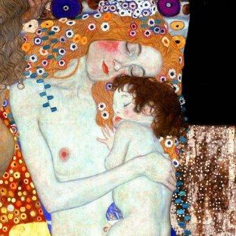 pinturas de retratos - Quadro -As Três Idades da vida (detalhe-cuadrado)- - Klimt, Gustav