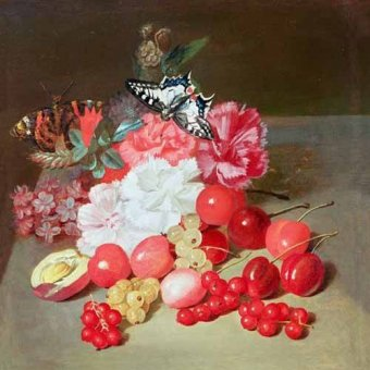 naturezas mortas - Quadro -Bodegon con cerezas y uvas- - Boilly, Louis Leopold