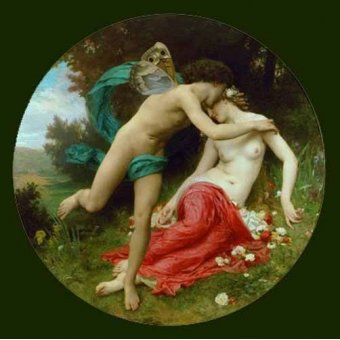 quadros nu artistico - Quadro -Flora and Zephir- - Bouguereau, William