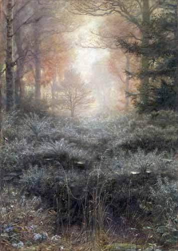 quadros-de-paisagens - Quadro -Dew-Drenched Furze- - Millais, John Everett