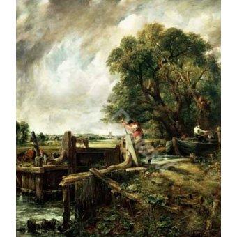 - Quadro -Barges passing a lock on the Stour (La Presa)- - Constable, John