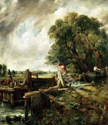 quadros-de-paisagens - Quadro -Barges passing a lock on the Stour (La Presa)- - Constable, John