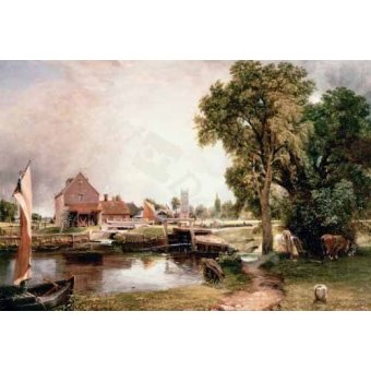 - Quadro -Dedham Lock and Mill, 1820 (oil on canvas)- - Constable, John