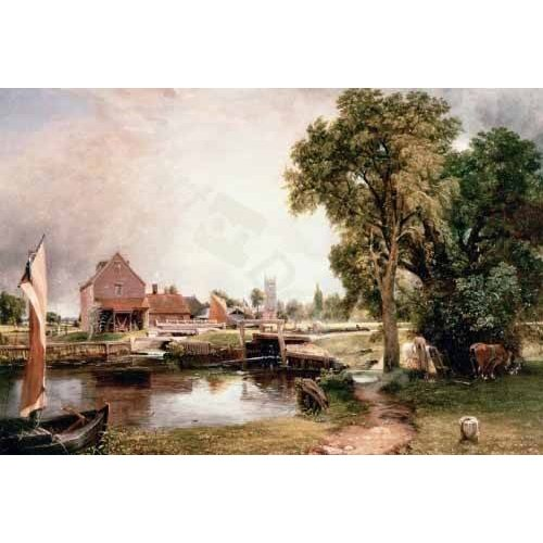 pinturas de paisagens - Quadro -Dedham Lock and Mill, 1820 (oil on canvas)-