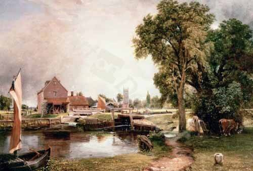 quadros-de-paisagens - Quadro -Dedham Lock and Mill, 1820 (oil on canvas)- - Constable, John