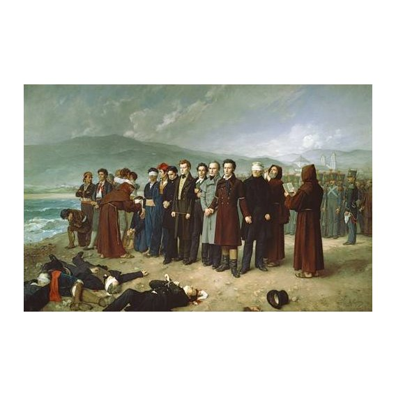 pinturas do retrato - Quadro -Fusilamientos de Torrijos y sus compañeros en las playas de mal