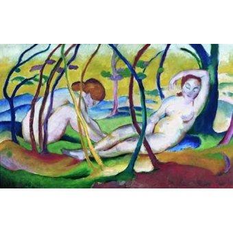 quadros nu artistico - Quadro -Nudes under Trees, 1911- - Marc, Franz