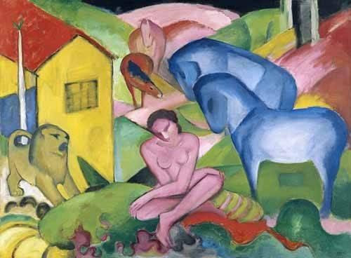 pinturas-de-retratos - Quadro -The Dream- - Marc, Franz