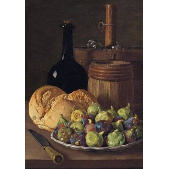 naturezas mortas - Quadro -Bodegon con higos y pan, 1770- - Melendez, Luis