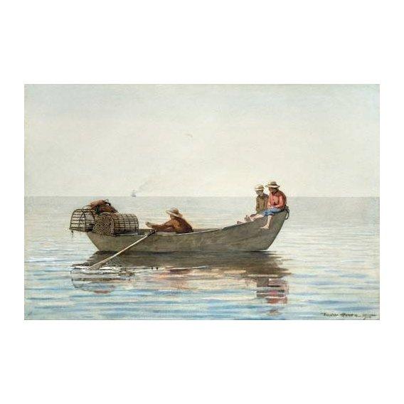 imagens de mapas, gravuras e aquarelas - Quadro -Three Boys in a Dory with Lobster Pots, 1875-