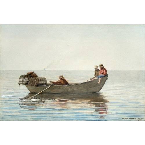 Quadro -Three Boys in a Dory with Lobster Pots, 1875-