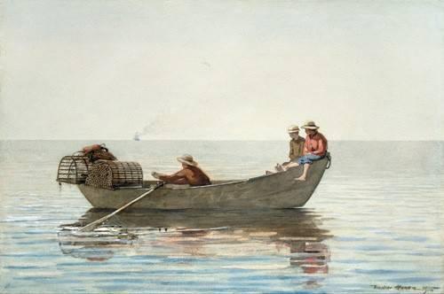 imagens-de-mapas-gravuras-e-aquarelas - Quadro -Three Boys in a Dory with Lobster Pots, 1875- - Homer, Winslow