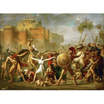 pinturas de retratos - Quadro -The Sabine women halting the battle between Romans and Sabines, - David, Jacques Louis