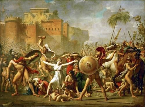 pinturas-de-retratos - Quadro -The Sabine women halting the battle between Romans and Sabines, - David, Jacques Louis