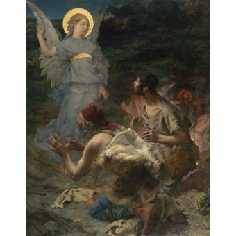 quadros religiosos - Quadro -La Anunciación a Los Pastores, 1875- - Bastien Lepage, Jules