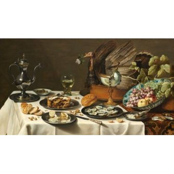 naturezas mortas - Quadro -Bodegon con pastel turco, 1627- - Heda, Willem Claesz
