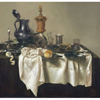 naturezas mortas - Quadro -Banquet Piece with Mince Pie, 1635- - Heda, Willem Claesz