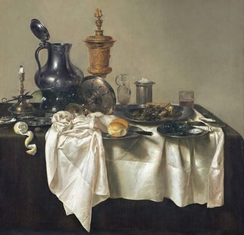 naturezas-mortas - Quadro -Banquet Piece with Mince Pie, 1635- - Heda, Willem Claesz