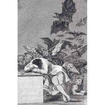 imagens de mapas, gravuras e aquarelas - Quadro -El sueño de la razon produce monstruos_(N_43), de Los Caprichos - Goya y Lucientes, Francisco de