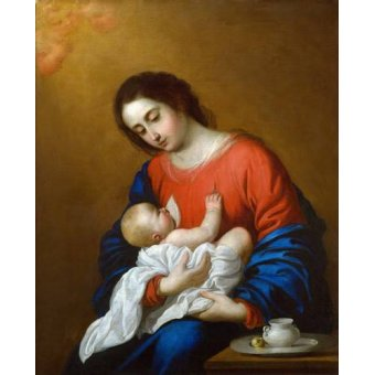 religious paintings - Picture -La Virgen y El Niño, 1658- - Zurbaran, Francisco de