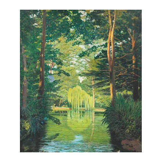 pinturas de paisagens - Quadro -Paisaje en un lago-