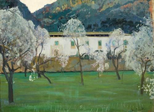quadros-de-paisagens - Quadro -La Granja Blanca en Bunyola, Majorca, 1902- - Rusiñol, Santiago